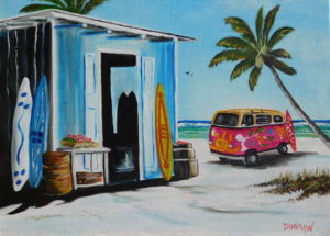 """Hippy VW Van & Surf Shack"" #139416 BUY $250 20""w x 16""h - FREE shipping lower US 48 & Canada"
