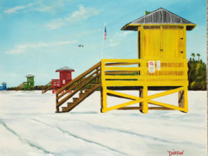 "Private Collection Of: Roberta & Robert Pearson Shelton, Conn. ""4 Lifeguard Stands On SK"" #155617 $250 16""h x 20""w"