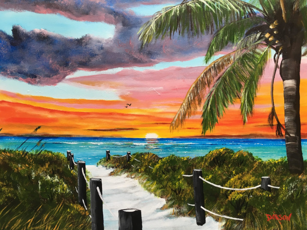 """""""Siesta Key At Sunset"""" #157317 BUY $250 16""""h x 20""""w - FREE shipping lower US 48 & Canada"""