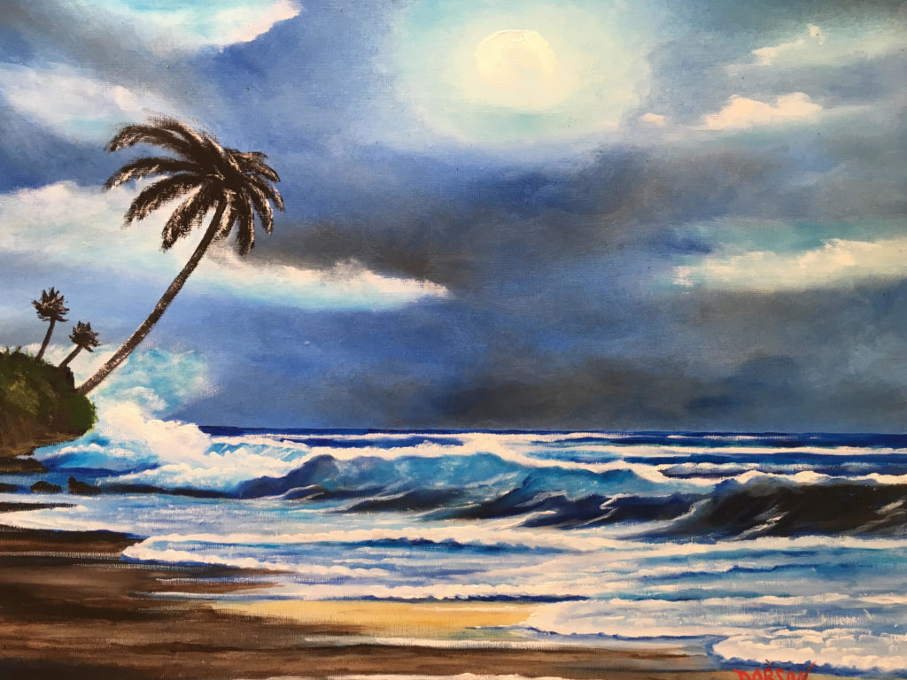 """""""Moonlight On The Key"""" #157417 BUY $250 16""""h x 20""""w - FREE shipping lower US 48 & Canada"""