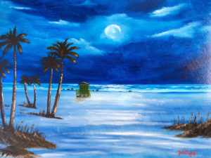 "Private Collection Of: Billie Mead Blue Springs, Missouri ""Moonlight On Siesta Key"" #157617 $250 16""h x 20""w"