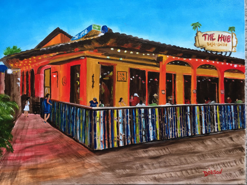 """""""The Hub Baja Grill At Night"""" #158317 BUY $250 16""""h x 20""""w - FREE shipping lower US 48 & Canada"""