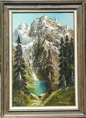 "15x30 Oil Painting ""Snow Peaked Mountains"" Private Collection - Mr & Mrs Larry Schumaker - Woodland Hills, California"