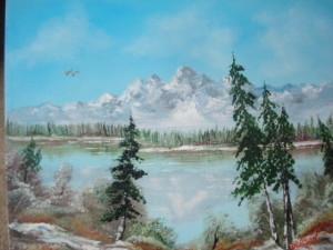 Snow At The Mountain Lake 16x20 BUY #11813 $175 Free shipping (USA only)