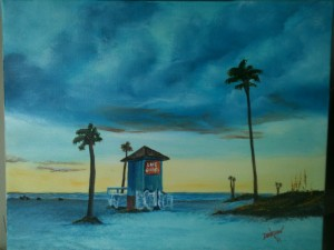 Life Guard Shack On Siesta Key 16x20 BUY #11313 $175 Free shipping (USA only)