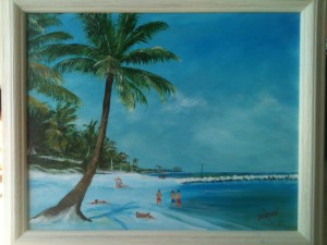 "16x20 Oil Painting ""Another Great Day on the Beach"" Private Collection - Chip & Ashlyn Dobson"