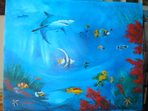 Tropical Fish 16x20 BUY #14114 $175 Free shipping (USA Only)