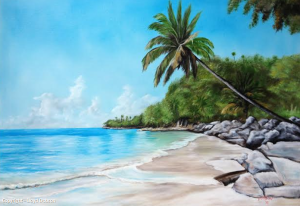 "Private Collection Of: Laura Crenshaw - Raleigh, North Carolina ""Tropical Paradise Beach"" #110114 $695 32x44"