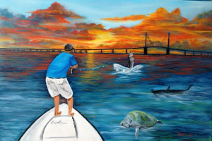 "Private Collection Of: David Turner Lexington, Kentucky ""Tarpon Fishing At The Sunshine Skyway Bridge"" #110314 - 24x36"
