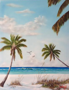 "Private Collection Of: Abe & Faith Brooks - Langhorn, Pa ""Beach At The Gulf"" #110614 BUY $355 26x33"
