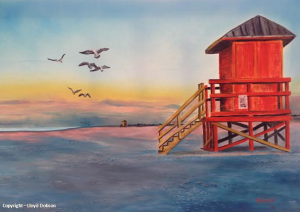 Private Collection Of: Deborah Buchanan - Sarasota, Florida Red Life Guard Shack On The Key #110714 $395 24x36