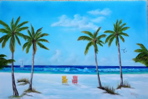"Private Collection Of: Sandy Bowling & Larry Howenstein - Fairview Heights, Illinois ""Another Day At The Beach"" - 24x36 #111214 SOLD $395 24x36 - Free Shipping Lower USA 48 & Canada"