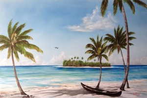 "Paradise Island Private Collection Of: Dee Houden & Jeff Hudson Siesta Key, Florida """"Paradise Island"" 26x44 - #112314 - $395 #112314 BUY $395 26x40 - Free Shipping Lower US 48 & Canada"