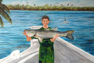 "Private Collection Of: James ""Butch"" Oleksak - Russell, Ma ""Yeah My Grandson's 39"" Snook"" #112414 $395 24x36"