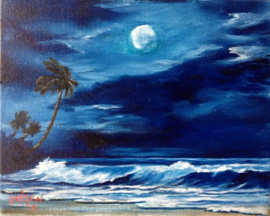 "Private Collection Of: Jim Eckman - Sarasota, Florida ""Moon Light On The Gulf"" - #117815 8x10"