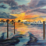 Sunset At The Yacht Club #126515  BUY   $1050 34x44 - FREE Shipping Lower US 48 & Canada