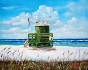 "Private Collection Of: Annie Saadeh Vienna, Ohio ""Let' Meet At The Green Life Guard Shack"" #130215 - $250 16x20"