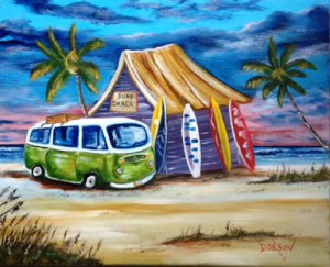 "Private Collection Of: Matt & Jacqueline Walker Jenison, Michigan ""My VW Van At The Surf Shack"" #130415 - $250 16x20"
