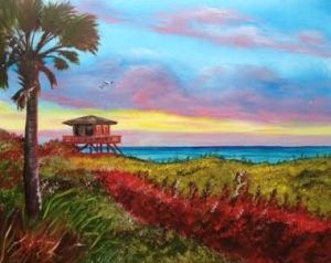 """Nokomis Beach At Sunset"" #130715 BUY $250 16x29 - Free Shipping Lower US 48 & Canada"