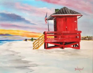 "Private Collection Of: Lesli & Mike Hopping Cincinnati, Ohio ""Siesta Key Red Life Guard Shack"" #131215 - $250 16x20"