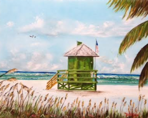 "Private Collection Of: James & Kay Jordan Tampa, Florida ""I'll Meet You At The Green Life Guard Shack"" #131315 - $250 16x20"