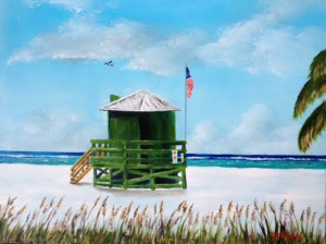 """Green Life Guard Shack On Siesta Key"" #132915 BUY $250 16x20 - Free Shipping Lower US 48 & Canada"