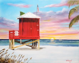 """Siesta Key Red Lifeguard Shack"" #134516 BUY $250 16x20 - Free Shipping Lower US 48 & Canada"