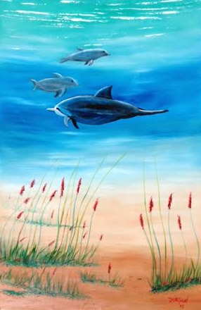 """""""Dolphins Underwater"""" #135516 BUY $595 24x36 - Free Shipping Lower US 48 & Canada"""