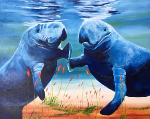 """Two Socializing Manatees"" #137816 BUY $595 24x30 - Free Shipping Lower US 48 & Canada"
