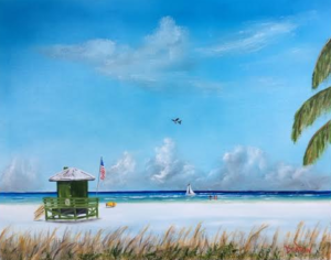 """Green Lifeguard On SK"" #140116 BUY $250 16x20 - Free Shipping Lower US 48 & Canada"