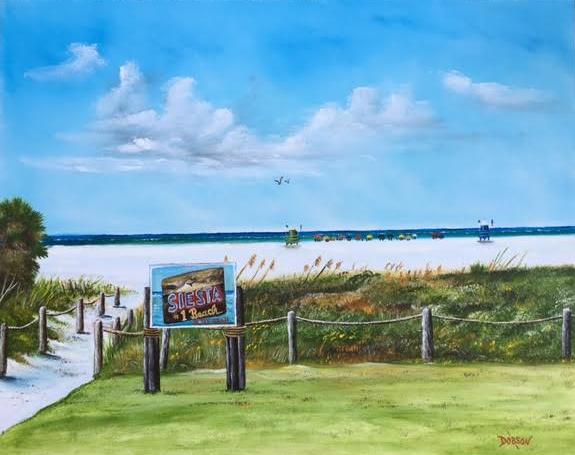 """""""Siesta Key Public Beach"""" #140916  BUY  $490 24x30 - FREE Shipping Lower US 48 & Canada"""