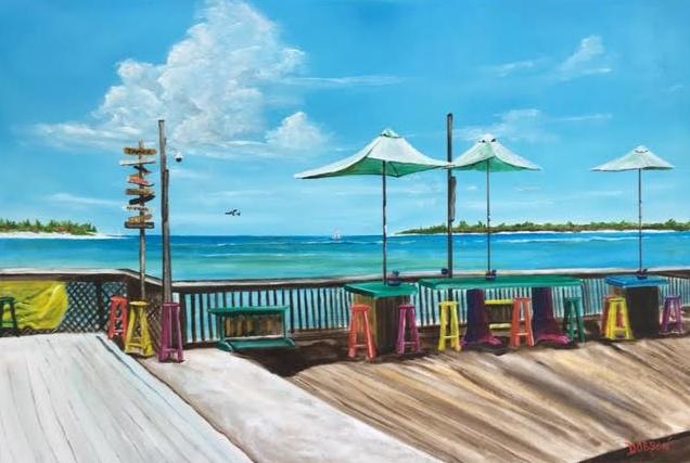 """Sunset Pier Tiki Bar - Key West, Florida #141316 BUY $590 34x36 - FREE Shipping Lower US 48 & Canada"