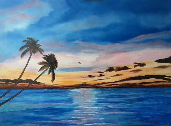 """""""Sunset On The Island Of Siesta Key"""" #141416 BUY $990 32x42 - FREE Shipping Lower US 48 & Canada"""