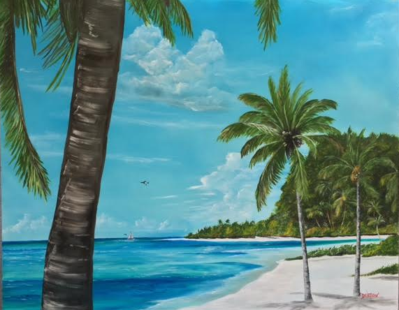 """""""A Tropical Paradise"""" #141616 BUY $990 32h x 40w - FREE Shipping Lower US 48 & Canada"""