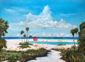 """Path On Siesta Key To The Red Lifeguard Shack"" #142316 BUY $590 25h x 34w - FREE Shipping Lower US 48 & Canada"