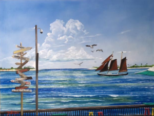 """Sunset Pier Tiki Bar Key West"" #142416 BUY $590 28h x 36w - FREE Shipping Lower US 48 & Canada"