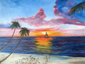 """Vibrant Sunset On Siesta Key"" #142516 BUY $590 28h x 36w - FREE shipping lower US 48 & Canada"
