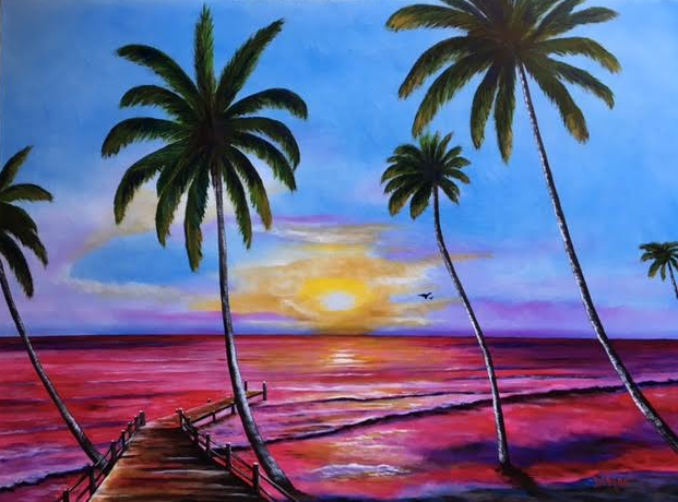 """""""Fishing Pier At Sunset"""" #142816 BUY $890 31""""h x 42""""w - FREE shipping lower US 48 & Canada"""