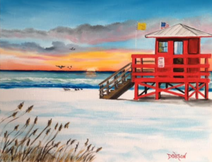 "Private Collection Of: Kevin Farewell Siesta Key, Florida ""Red Stand On Siesta Key"" #146616 $250 16x20"