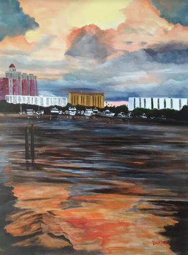 """Sunset At Marina Jack's Sarasota"" #146716 BUY $890 30""w x 40""h - FREE shipping lower US 48 & Canada"