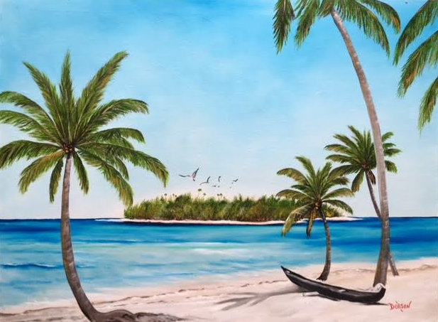 """""""Abandon Boat In Paradise"""" #146816 BUY $890 30""""h x 40""""w - FREE shipping lower US 48 & Canada"""