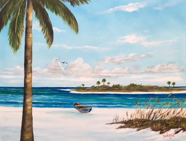 """""""An Island In Paradise"""" #148417 BUY $250 16""""h x 20""""w - FREE shipping lower US 48 & Canada"""