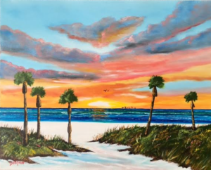 """Sunset In Paradise"" #148517 BUY $250 16""h x 20""w - FREE Shipping lower US 48 & Canada"