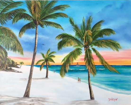 """""""In Paradise"""" #148717 BUY $250 16""""h x 20""""w - FREE shipping lower US 48 & Canada"""