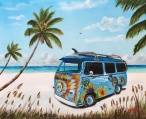 """My Hippy Van"" #149217 BUY $250 16""h x 20""w - FREE shipping lower US 48 & Canada"
