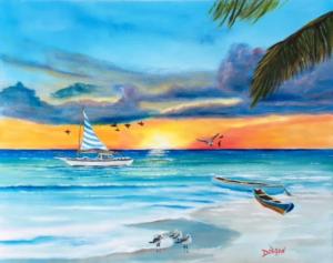 """""""Siesta Key Sailing"""" #149417 BUY $250 16""""h x 20""""w - FREE shipping lower US 48 & Canada"""