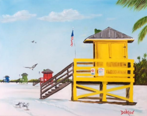 """Lifeguard Stands On Siesta Key"" #150217 BUY $250 16""h x 20""w - FREE Shipping Lower US 48 & Canada"
