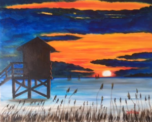 """Lifeguard Stand Silhouette On The Key"" #150617 BUY $250 16""h x 20""w - FREE shipping lower US 48 & Canada"