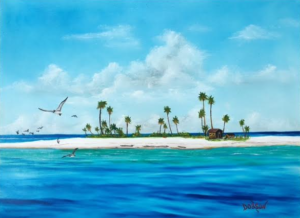 """an Island In Paradise"" #151217 BUY $350 18""h x 24""w - FREE shipping lower US 48 & Canada"