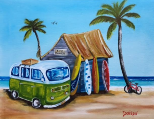 """""""My VW Van On The Beach"""" #152017 BUY $140 11""""h x 14""""w - FREE shipping lower US 48 & Canada"""